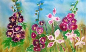 Caroline streatfield chalk hollyhocks and dancing butterflies  (2)
